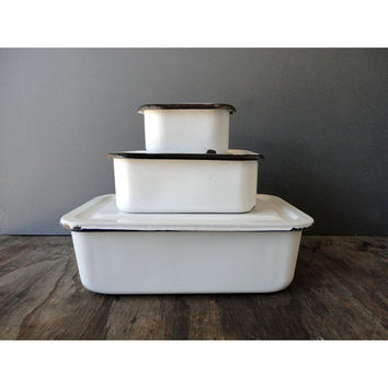 Set of Enamel Storage Boxes - Vintage