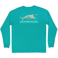 FieldTec Cotton Long Sleeve Marlin Tee in Teal by Southern Marsh