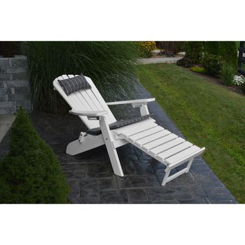 A&L Furniture Co. Folding Reclining Recycled Plastic Adirondack Chair W/ Pullout Ottoman  - Ships FREE in 5-7 Business days