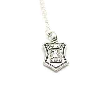 Police Officer Necklace, Charm Necklace, Police Wife, Police Badge Necklace, Police Jewelry, Police Wife Jewelry, Police Shield, Police Mom