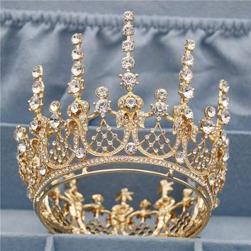 Vintage Romantic Gold Round Queen King Tiara Crown Pageant Cosplay Bridal Wedding Hair Jewelry