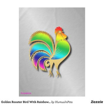 Golden Rooster Bird With Rainbow Feathers And Tail Tablecloth