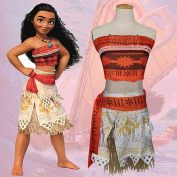 Moana Cosplay Costume Sexy Princess Costume Halloween Suit Movie Moana Costume Adult Women Kid Party Dress Skirt Custom Made