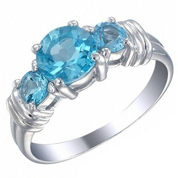 1.70 Carats Sterling Silver 3 Stone Swiss Blue Topaz Ring (1.70 CT)