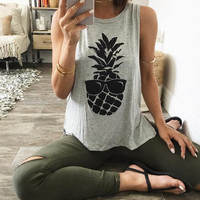 New Summer fashion Sexy Women vest Pineapple With sunglasses pattern sleeveless T-shirt -0706