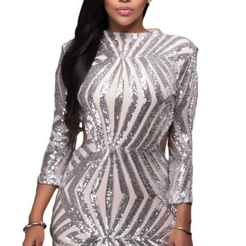 Silver Sequin Detail Open Back Party Mini Dress LAVELIQ