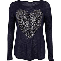Navy embellished heart oversized top