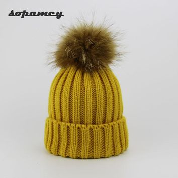 New Brand Winter Hat Real  Fur Ball Winter Hat For Women Pom Poms Warm Hat Girl 's Wool Warm Cap Fashion Knitted Beanies