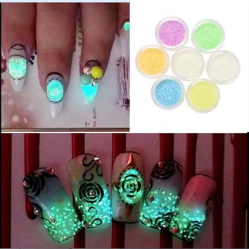 Hot Sale New Nail Gel Glitter Luminous Nail Art Sticker Stickers Tips Decoration DIY Acrylic Manicure 1Box