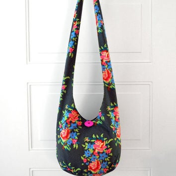 Hobo Bag Crossbody Bag Hippie Purse Sling Bag Hobo Purse Boho Bag Bohemian Purse Floral Geometric Hobo Bag Fabric Purse Handmade Purse