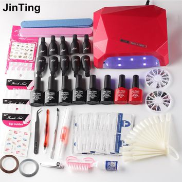 Nail set choose 6 colors nail polish Soak-off Gel polish Top & Base Coat gel with 24w or 36w UV LED lamp manicure nail art tool