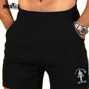 "Men's Gyms Shorts With Pockets Bodybuilding Clothing Men Golds Athlete Fitness Bermuda Weight Lifting Workout Cotton 5"" Inseam"