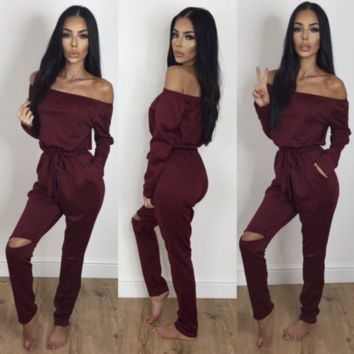 Women Casual Fashion Solid Color Bodycon Off Shoulder Long Sleeve Hollow Trousers Romper Jumpsuit