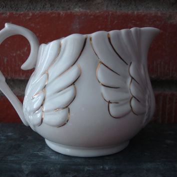 Vintage Porcelain Wings Design Creamer, Delicate Creamer White with Gold Accent, Winged Design, Kitchen Collectible, Pretty Sauce Server ~