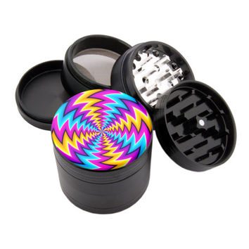 "Dazed Spin Illusion - 2.25"" Premium Black Herb Grinder - Custom Designed"