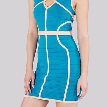 Round Neck Style Lines Bandage Dress in Teal