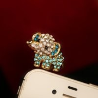 MagicPieces Cute Rhinestone Baby Elephant Plugy for iPhone Blue Dust Proof Plugy Dust Plug 3.5mm Headphone Jack Plug for iPhone Samsung Blackberry iPad HTC