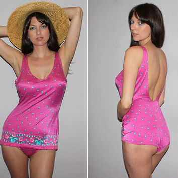 Vintage 80s does 50s PIN UP Bathing Suit / Floral, Polka Dot One Piece Swimsuit / Barbie Pink / Hard Cups, Full Coverage Bottom / Large, Xl
