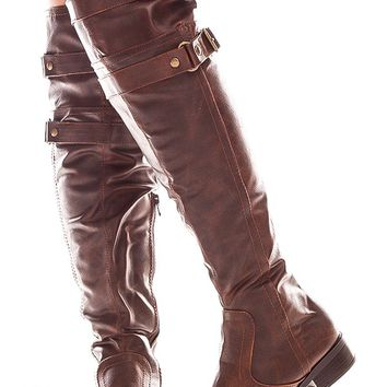 BROWN FAUX LEATHER DOUBLE BUCKLE KNEE HIGH BOOTS