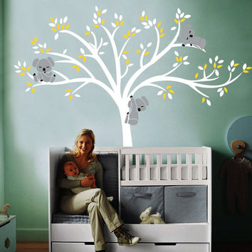 Big Nursery Room Decor Tree 220x196cm Large Koala Tree Wall Decals For Baby Bursery Custom Vinyl Wall Decor Stickers D-16
