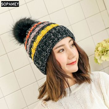 Fashion Girl 'S Skullies Beanies Winter Hats For Women Knitting Cap Hat Pompoms Ball Warm Brand Casual Gorros Thick Female Cap