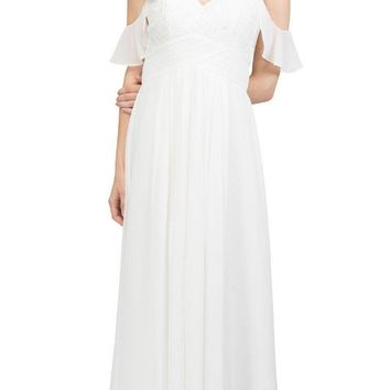 Off White Long Formal Dress with Flounce Cold-Shoulder