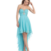 Aqua Sweetheart High Low Dress 2015 Prom Dresses