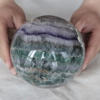 8.7LB XL Rainbow Green and Purple Fluorite Sphere 5.3 inch diameter