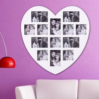 ADECO PF0305 13-Opening White Wooden Wall Hanging Collage Photo Picture Frames - Holds 4x5 4x6 Inch Photos, Heart Shape / Love Design,Best