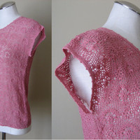 vintage Crochet Shirt / Bohemian Clothing / Dusty Rose / Victorian Crochet / Keyhole Back