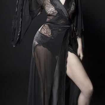Sexy Sheer Dressing Gown with Pleated Satin and Eyelash Lace