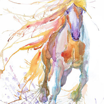 Horse art print, abstract horse painting ,  wild horse art,  watercolor, horse lover, horse decor, wild horse, animal art, art print