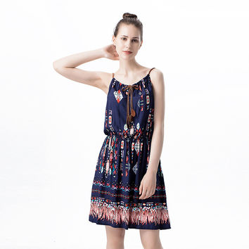 Fashion Casual Multicolor Retro Totem Print Leather Rope Strap Round Neck Sleeveless Mini Dress