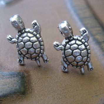 Turtle Post Stud Earrings Sea Turtle Ear Jewelry