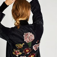 VELVET KAFTAN WITH BACK EMBROIDERY