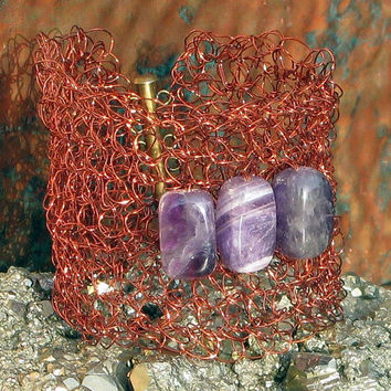 Crocheted Copper Wire Cuff Bracelet with Polished Banded Amethyst / Chevron Amethyst Beads, February Birthstone