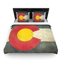 "Bruce Stanfield ""State Flag of Colorado"" Black Red Woven Duvet Cover"