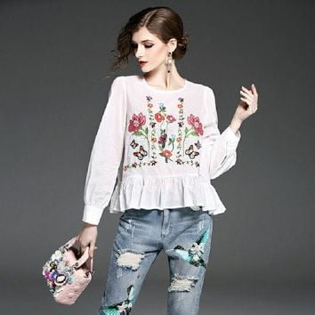 DKF4S Fashion floral embroidered women blouses Spring long sleeve shirt women tops 2017 Casual butterfly pattern chemise femme