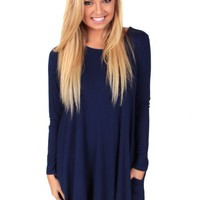Here's To The Good Times Navy Dress   Monday Dress Boutique