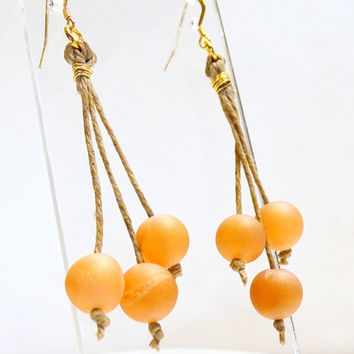 Velvety soft peach, cream and rosy pink Druzy agates hang from waxed Irish linen cord in these urban chic drop earrings
