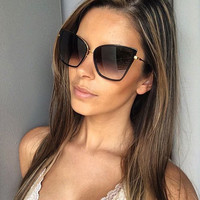 2017 GUVIVI New Fashion Women Sunglasses Cat Mirror Glasses Metal Cat Eye Sunglasses Women Brand Designer Sunglasses women