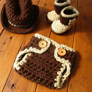 Brown Tan Newborn Cowboy Hat Diaper and Boots Baby Photo Prop