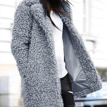 New Grey Faux Fur Pockets Turndown Collar Long Sleeve Casual Coat
