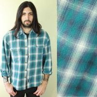 Vintage - 90s - Guess - Teal Green & Gray Plaid - Flannel - Button Up - Collar - Mens Shirt - Unisex - Grunge Revival
