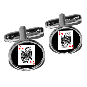 Playing Cards Queen of Hearts Round Cufflinks
