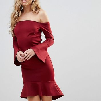 Oh My Love Off Shoulder Flute Sleeve Mini Dress at asos.com