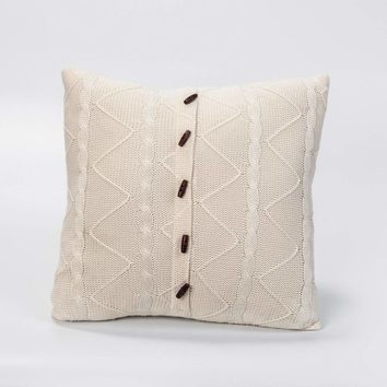 PARCHMENT CABLE AND TWIST KNIT PILLOW