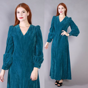 Vintage 70s VELVET DRESS / 1970s Designer Jacqui Smale Teal Velvet Maxi Dress