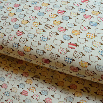 White kawaii colorful hedgehog japanese fabric from Kokka - Half Yard