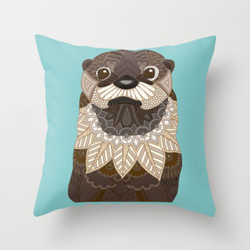 Ornate Otter Throw Pillow by ArtLovePassion